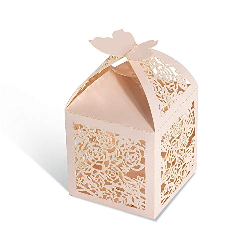 (KAZIPA 50pcs Laser Cut Wedding Favor Boxes, 2.2''x2.2''x2.2'' Butterfly Candy Favor Boxes for Wedding Favors Bridal Shower Decoration Birthday Party Favors Baby Shower(Pink))