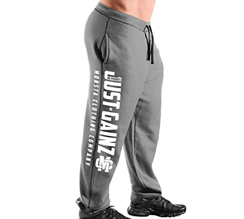 Elite Series Men's (Open-Bottom) Sweatpants No Worries-Just GAINZ-311: White Art (Grey Sweatpants/White Art, Medium)
