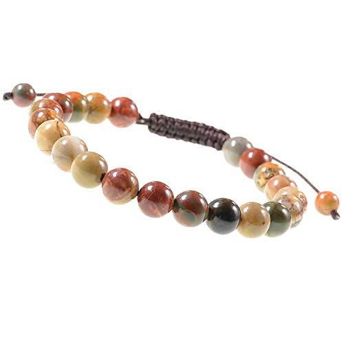 (LPBeads 8mm Unisex Natural Gemstone Adjustable Bracelet with Jewelry Bag)