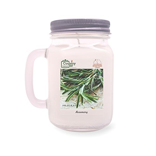 Country Jar ROSEMARY Handle Candle (14 oz. Mason-Carry Jar) (Rosemary Candle Scented)