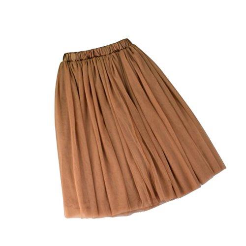 Taille Jupe Elgant Femme Vintage 5 Tutu Jupon Tulle Haute Evas Mi Couches Oudan Caf Elastique Longue xqOX5qU