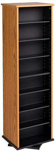Prepac Two-Sided Spinning Tower Storage Cabinet, Oak and Black