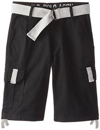 U.S. Polo Assn. Big Boys' Belted Twill Cargo Shorts, Black, 8