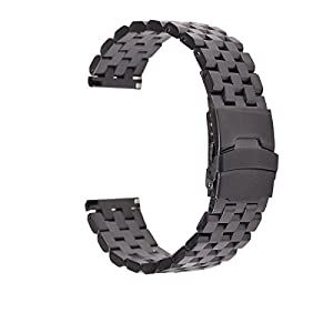 EACHE Soild Stainless Steel Watch Band Brushed Finish With Double Locking Clasps 20mm 22mm 24mm