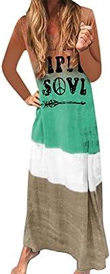 Wawer - Vestido de mujer de manga larga con cuello en V de color ...