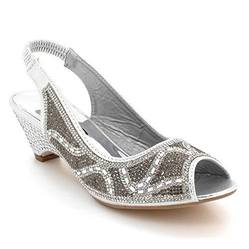 Zapatos Paseo Señoras Cuña Sandalias Slingback Nupcial Boda Mujer Plata Peeptoe Tamaño Tacón Fiesta Noche Diamante UqwHTf