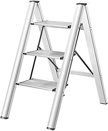DY - Escalera Multiusos Resistente y Plegable de Seguridad, con Plataforma Ancha, escaleras de Ahorro de Espacio, escaleras Ligeras, Ideal para el Mercado doméstico o la Oficina, Plateado, 3-Tier: Amazon.es: Hogar