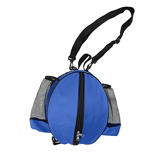 FoRapid Size 7 (29.5'') Basketball Bag Soccer Ball Football Volleyball Softball Sports Ball Bag Holder Carrier+Adjustable Shoulder Strap 2 Side Mesh Pockets f/ Water Bottle Towel Sports Shoes -Blue by FoRapid