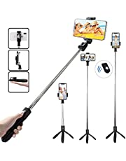 TERSELY Bluetooth Wireless Selfie Stick, 2in1 Tripod Stand with Shutter Remote, Rear Mirror for Apple iPhone Xs Max XR Android Samsung Huawei Pocket Extendable Monopod Aluminum Alloy 360°Rotation