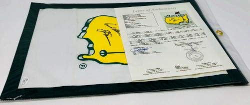 Arnold Palmer and Jack Nicklaus Autographed Masters Flag Signed Letter LOA JSA Certified Autographed Golf Pin Flags