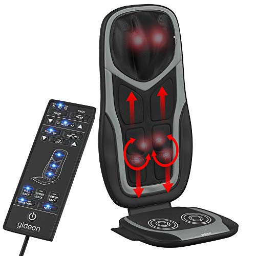 (Gideon Shiatsu Massage Seat Cushion with Six Programs and Heat Deep Kneading Back Massager for Car, Home Office)