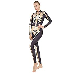 skeleton catsuit - 41m8rRgXaWL - Quesera Women's Halloween Costume Skeleton Zip Up Skinny Catsuit Stretch Jumpsuit