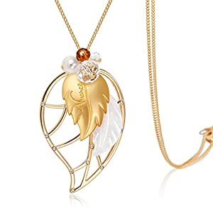 The Starry Night Champaign Gold Color Multilayer Tree Leaf Shape Crystal Beads Diamond Accented Temperament Pendant Necklace
