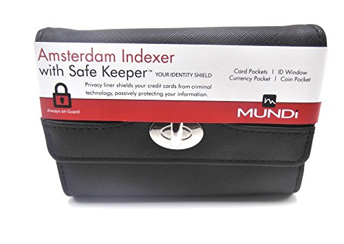 INDEXER Women's Faux Leather MUNDI WALLET Ladies RFID Protection One Size i875x (Black) ()