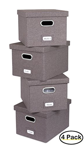 Internet's Best Collapsible File Storage Organizer Box with Lid | Decorative Linen Hanging Filing & Storage Office Box | Letter/Legal | Strong Durable | Toys Blankets Binders | Grey | 4 Pack