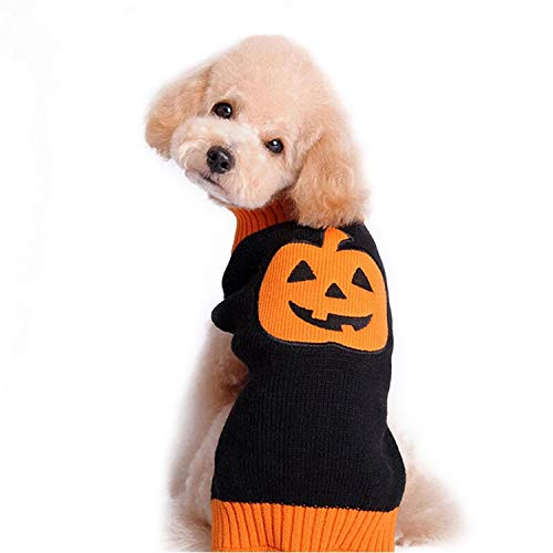 HDE Dog Halloween Costume Pumpkin Sweater Orange and Black Pull Over Knitwear Jack-O-Lantern Pet Clothes
