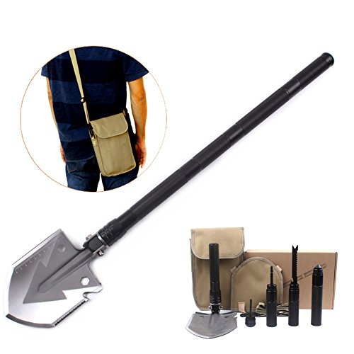 Multifunctional Super High Strength folding shovel Removable ,Outdoor Tactical Survival Shovel Tool for Camping Hiking Backpack Gardening Snow Army by Melissa Wizard (black) by Melissa Wizard