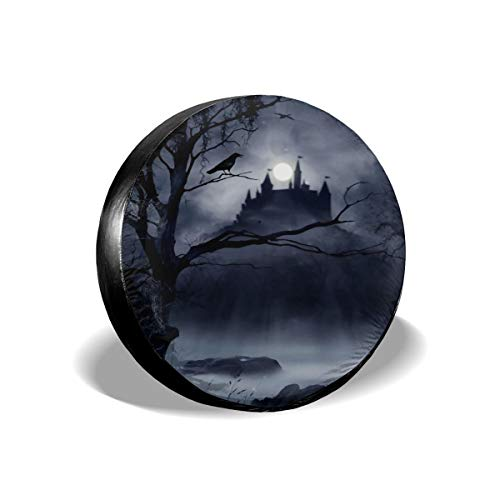 Guiwangli Gothic Decor Horrible Dark Night Scary Castle Crow Raven Bird Halloween Theme Spare Tire Cover Wheel Protector for Camper Trailer RV SUV with Personalized Printed -