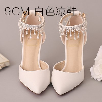 VIVIOO Prom Sandals Shoes Woman Sandals Girls Girls Sandals New White Pearl Diamond Tassel Bridal Shoes Wedding High Heels Pumps Pointed Toe Thin Heels Nude Shoes,9Cm Heel White,7 - e7a29a
