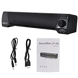 Xgody TV Soundbar Bluetooth v4.2 LP-09 Speaker USB Stereo Speaker 3.5mm Aux TF Card LED Indicator Built-in Microphone Stereo Portable for TV PC