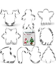 """Christmas Cookie Cutter Set-3.5""""3""""-9 Piece-Gingerbread Men, Snowflake, Reindeer, Angel, Christmas Tree, Snowman, Santa Face and More Cookie Cutters molds, with 100-Pack Cookie Candy Bag."""