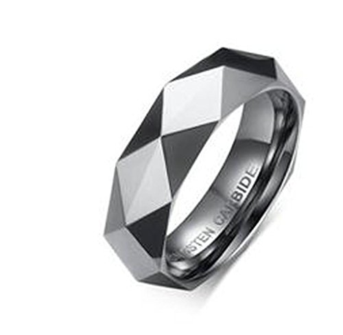 - MoAndy Men Tungsten Metal Ring Hammered Multi Faceted Design Wedding Band Polished