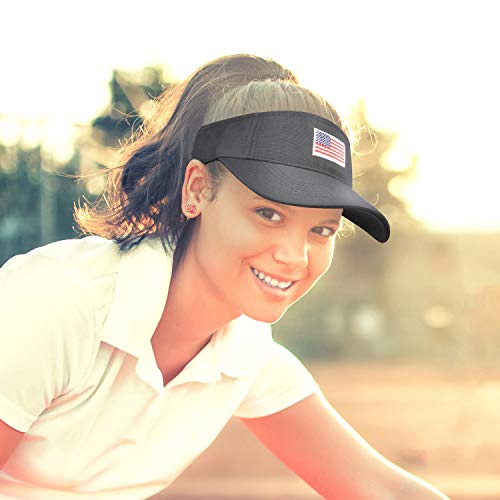 American Flag Visor Cap,Outdoor Sports Tennis Golf Running Cotton Hats for Men Women Patriotic ()
