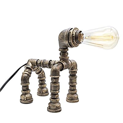 Y-Nut Loft Style Lamp,Nobark, Dog Figure Steampunk Industrial Vintage Style, Water Pipe Table Desk Light with Dimmer BT16-1227-BRZ, Aged Rustic Bronze Metal