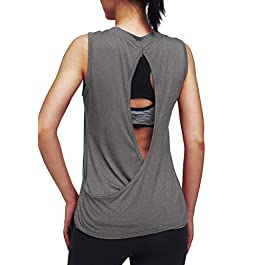 Mippo Open Back Workout Tops for Women Yoga Tops Muscle Tank Athletic Tank Tops