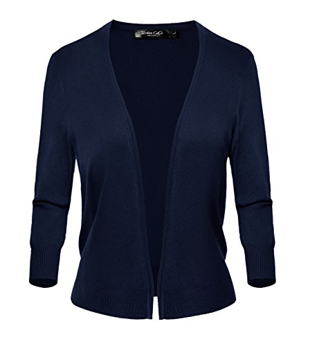Urban CoCo Women's Classic Open Front Sweater 3/4 Sleeve Cardigan (L, Navy) -