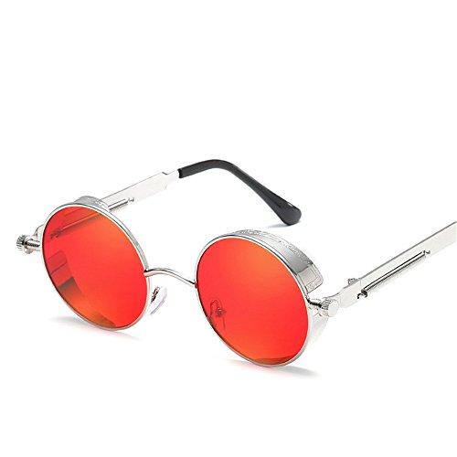 Actual de D Espejo A reflexivo Sol de Señora Metal de Color Redondo la de de RFVBNM Gafas sol Pierna Retro la Gafas Pierna Marco gwp4YBHq