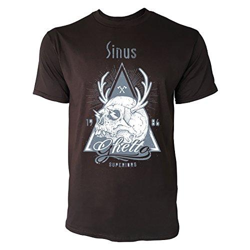 SINUS ART ® Totenkopf mit Hirschgeweih – 1986 Ghetto Superiors Herren T-Shirts in Schokolade braun Fun Shirt mit tollen Aufdruck