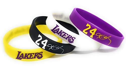 "SportsBraceletsPro - Basketball Player Set - Lakers - Basketball Legend - Player #24 - Silicone Wristband - Kid 6.7"" Size Bracelets - (#24 6.7"")"