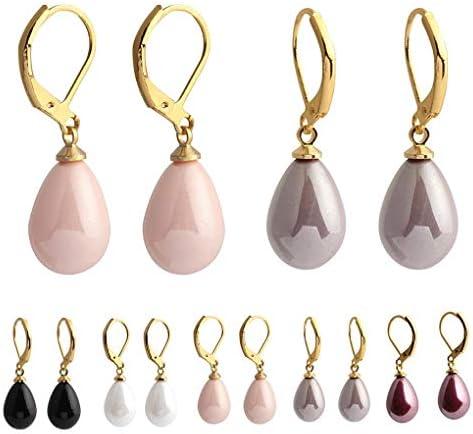 Arichtop Femmes Waterdrop Boucles doreilles Perles Bijoux de mari/ée Oreille Dangle Engagement d/écoration de Mariage