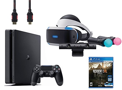 PlayStation VR Bundle 5 Items:VR Headset,Playstation Camera,Playstation Move Motion Controllers,Sony PS4 Slim 1TB Console - Jet Black,VR Game Disc Resident Evil 7:Biohazard by Sony VR