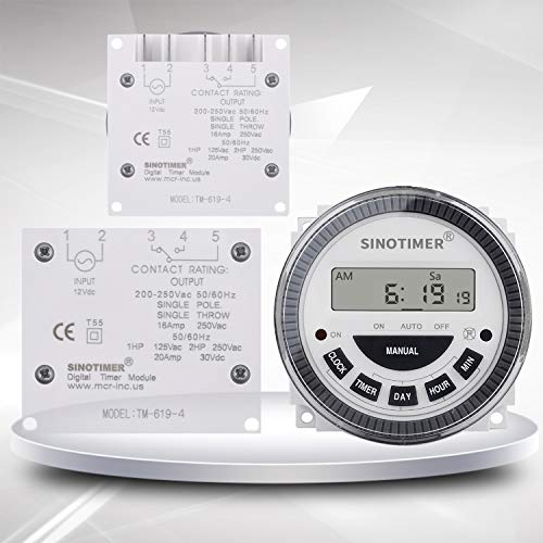 1NO1NC Volt free Output 16A Time Relay Control 12VDC 7 Days Programmable Digital Timer Switch - 7 Day Programmer