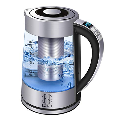 Soing Electric Kettle Pro,1.8L Glass Water & Tea Cordless Boiler,Variable Temperature Control & 24 Hours Keep-Warm Function,Detachable Tea Filter,Blue LED Indicator Light,Auto Shut-Off & Advanced Boil-Dry Protection,100% Food-Grade Stainless Steel,1500W Fast Heating,2 Year Warranty