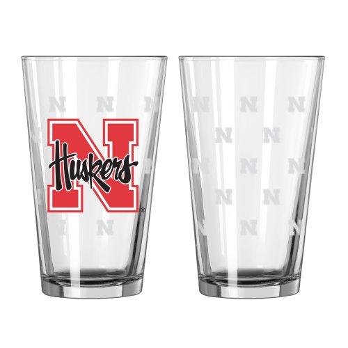 Boelter Brands NCAA Nebraska Cornhuskers Satin Etch Pint, 16-Ounce, 2-Pack
