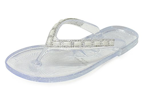 H2K Jelly Flip Flops, Crave' Women's Beach Jelly Flat Flip-Flops [Thong Sandal] Shoes with Rhinestone Costume Jewelry Embellishment Strap - Clear Size 6 [US Size] ()