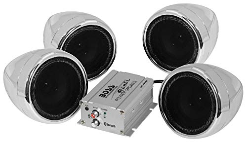 - BOSS Audio MC470B Speaker / Amplifier Sound System, Weatherproof Speakers, Bluetooth Amplifier, Inline Volume Control, Ideal For Motorcycles/ATV and 12 Volt Applications