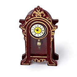 Prettyia Dollhouse Living Room Furniture Brown Table Clock 1/12 Scaled Model