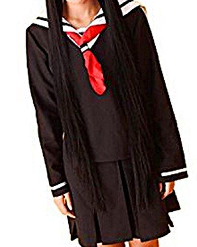 Jigoku Shoujo Cosplay Costumes (T2C Jigoku Shoujo styl Sailor Dress Cosplay Costumes Hell Girl Enma Ai (XL))