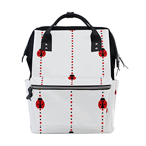- MAPOLO Ladybug Stripes Diaper Backpack Large Capacity Baby Bag Multi-Function Nappy Bags Travel Mom Backpack for Baby Care