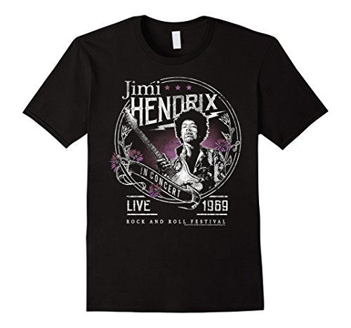 Mens Jimi Hendrix Floral Circle Live 1969 Vintage Rock T-Shirt XL Black Jimi Hendrix Rock T-shirts