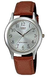 Casio Men's Core MTP1093E-7B Brown Leather Quartz with Silver Dial Watch
