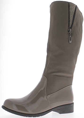 Cavalier Boots Taupe Heel 3.5 cm Look Returned Leather and Rubber vm3iBtFCA