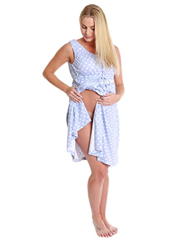 (Baby Be Mine 3 in 1 Labor/Delivery/Nursing Gown Maternity (L/XL, Blue Polka Dot))