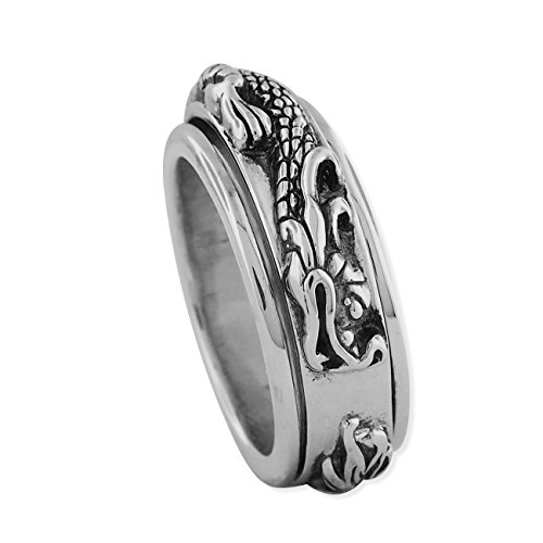 Sterling Silver Dragon Spinner Ring Size 14 ()