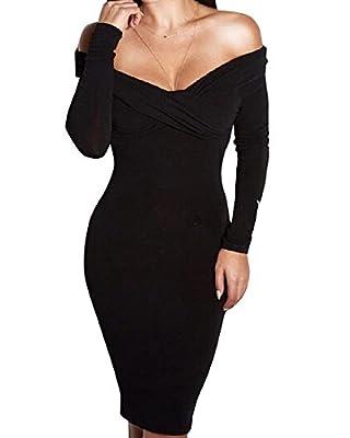 Women Sexy V-neck Off Shoulder Long Sleeve Slim Bodycon Wrap Tunic Pencil Midi Dress