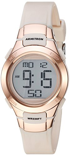 Armitron Sport Women's 45/7012PBH Rose Gold-Tone Accented Digital Chronograph Blush Pink Resin Strap Watch